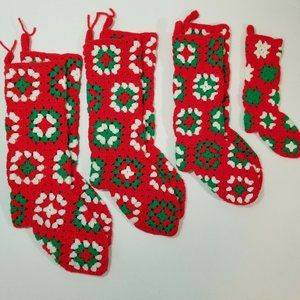 HANDMADE Lot of 7 Crocheted Christmas Stockings